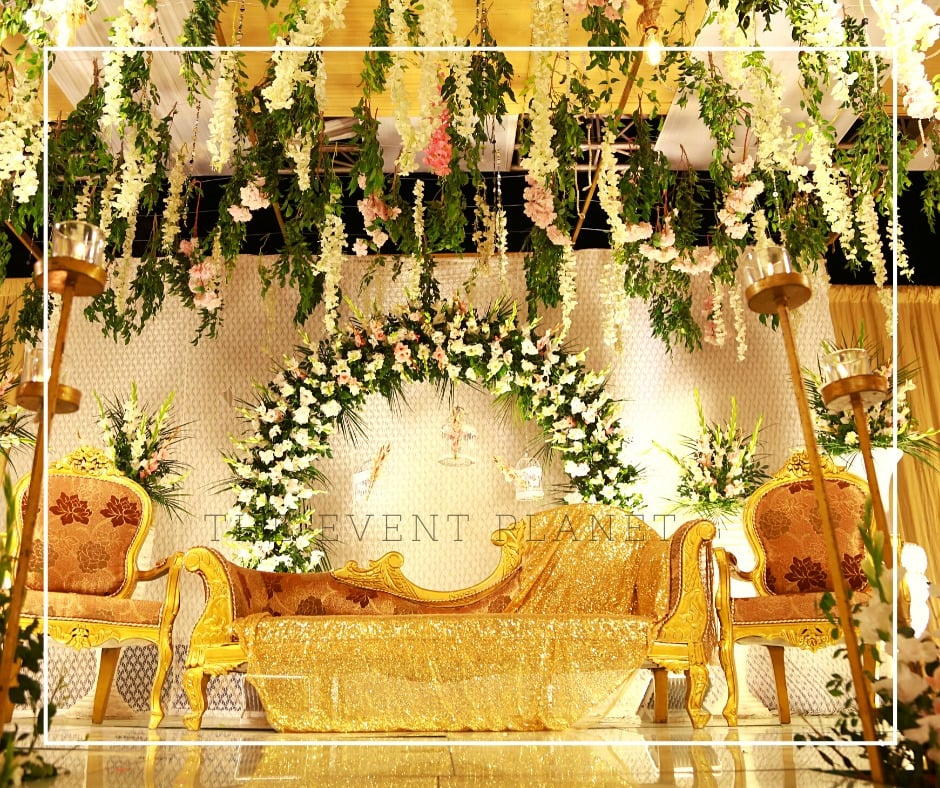 Golden and Green Wedding Stage