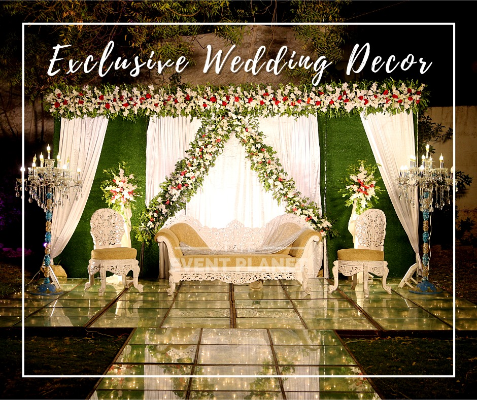White and Green Wedding Stage