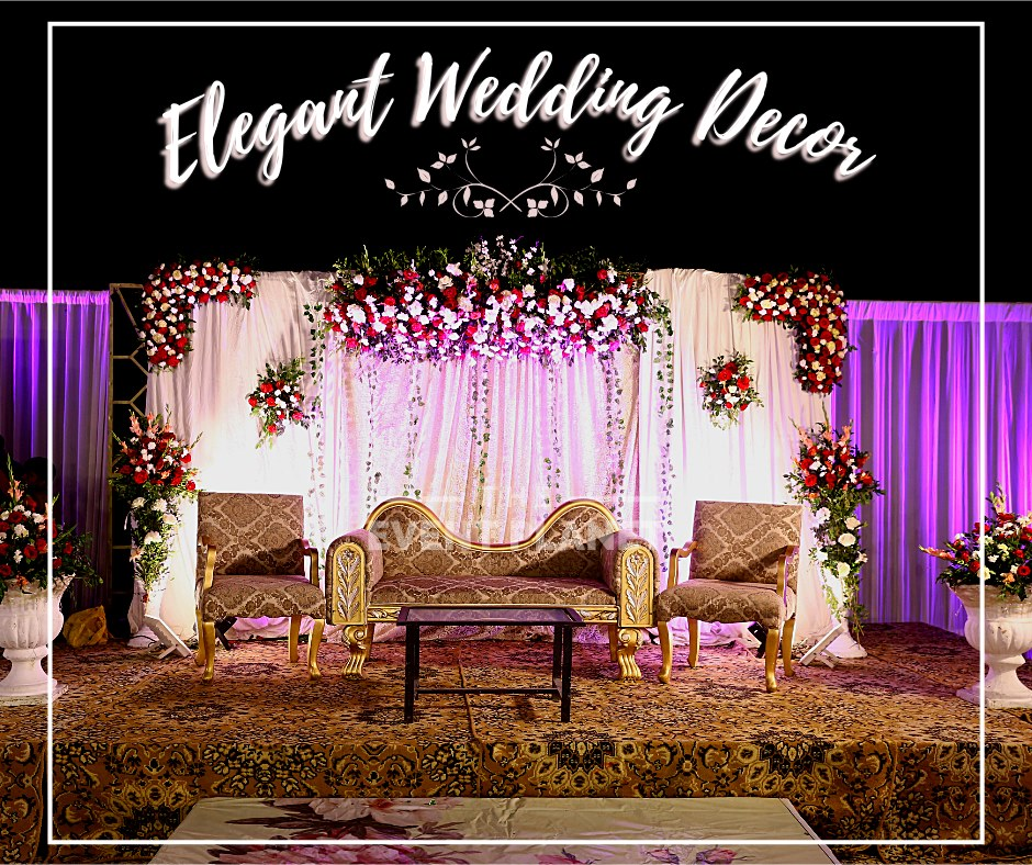 Purple and White Wedding Stage